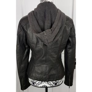Free People Jackets & Coats - Free People Black Faux Leather Jacket with Hood